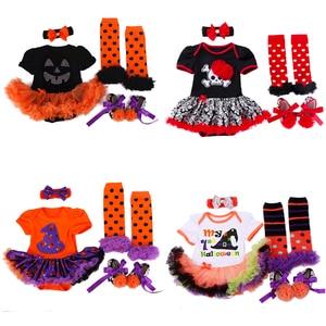 Image 1 - 4 Uds. De ropa para niñas recién nacidas, mono, traje de calabaza, conjunto de Calavera, ropa de Halloween, para fiesta, Cosplay