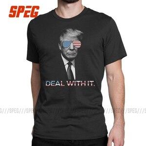 Image 2 - Humorvoll T Shirts Trump Deal mit es Amerika Casual Tee Shirts Erwachsene Crewneck Kurzarm Kleidung Freizeit T Shirts Männer Vintage