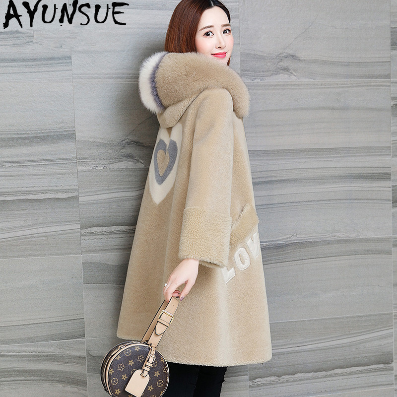 Winter Jacket Coats Real-Sheep-Shearling Korean Women AYUNSUE Mujer Wool Chaqueta Fox-Fur