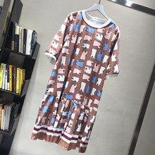Europeu feminino manga curta vestidos soltos senhora vestidos de impressão geométrica feminino vestido de impressão do vintage manga curta