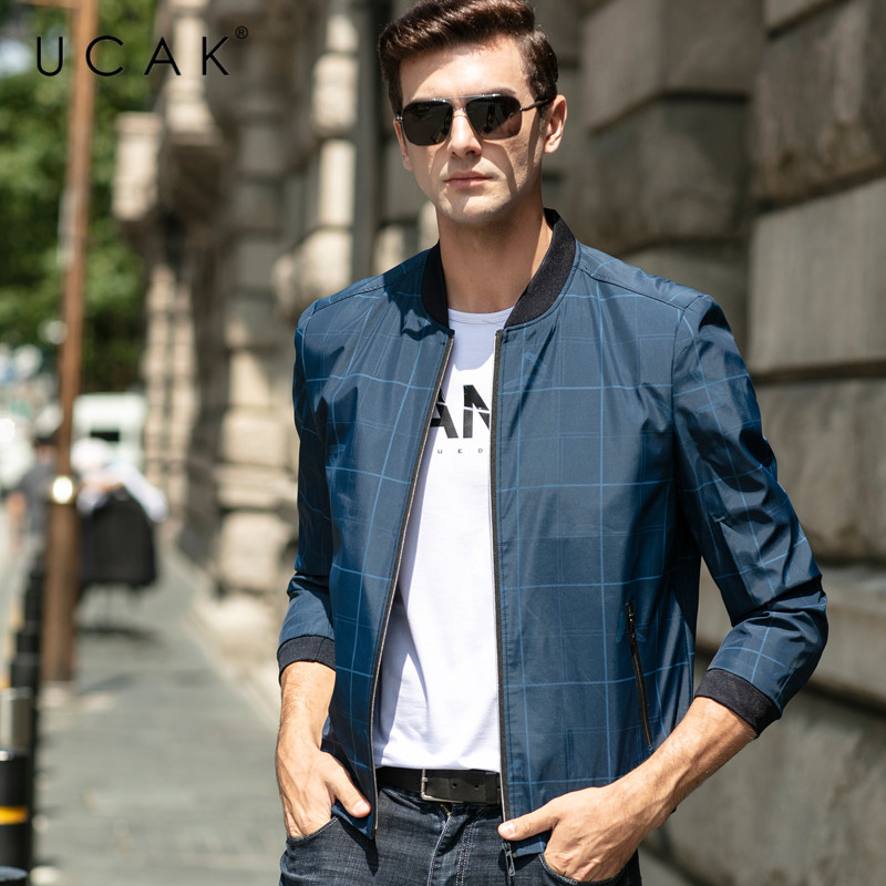 UCAK Brand Chaquetas Hombre 3 Colors Plaid Jackets Mens Clothing Casual Blouson Homme Fashion Zipper Jacket Men Clothes U8076
