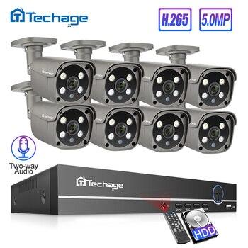 Techage H.265 8CH 5MP HD NVR POE Kit CCTV, sistema de seguridad con Audio de dos vías AI cámara IP al aire libre P2P de vigilancia de vídeo de 3TB HDD