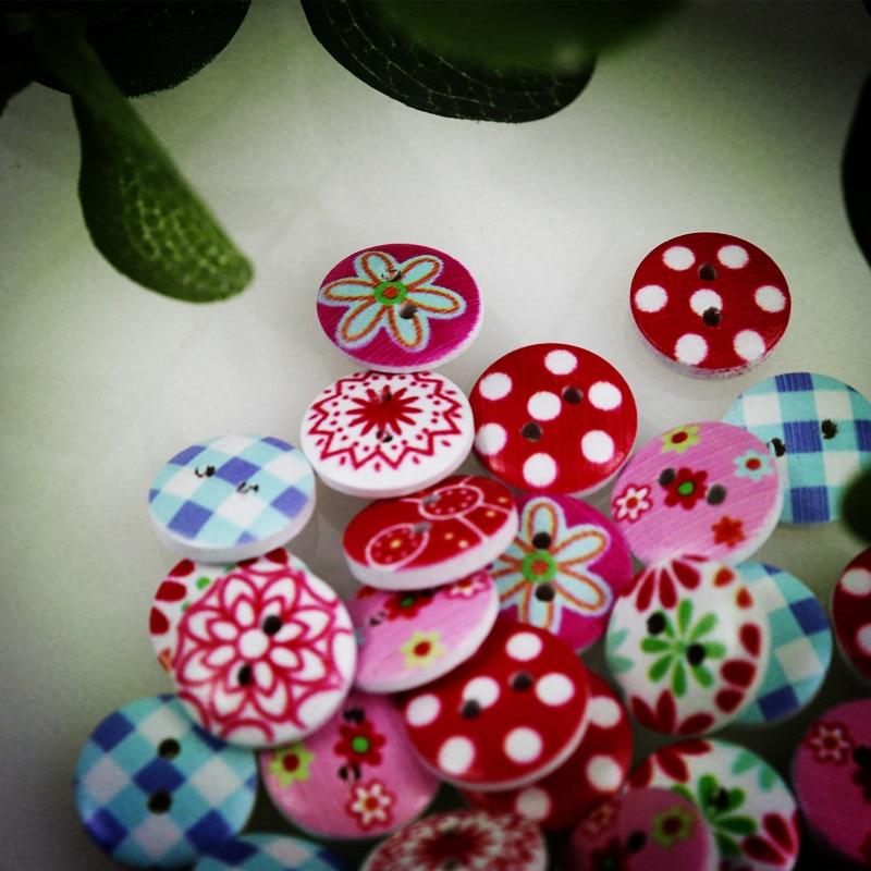 100 pçs 24l colorido botão de madeira misturada 2 furos flor costura natural crianças botões para scrapbooking acessórios de roupas