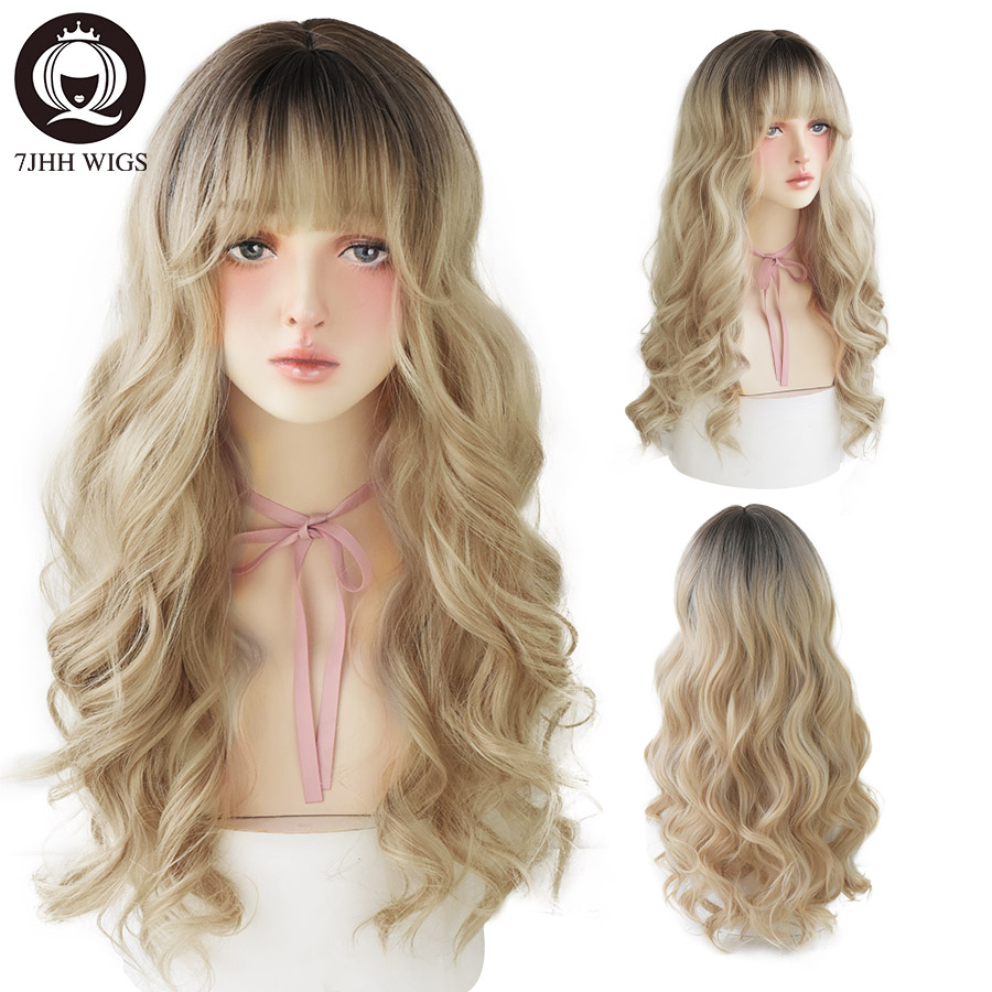 7JHH WIGS Lolita Wigs With Bangs Omber Blonde Long Deep Wave Wigs For Women Noble Blonde Heat Resistant Synthetic Cosplay Wig