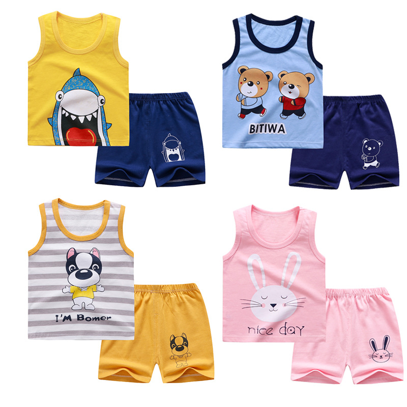 2PCS Toddler Baby Kids Boys Bow Vest Tops Shorts Set Outfits Clothes 6M-3Y S2