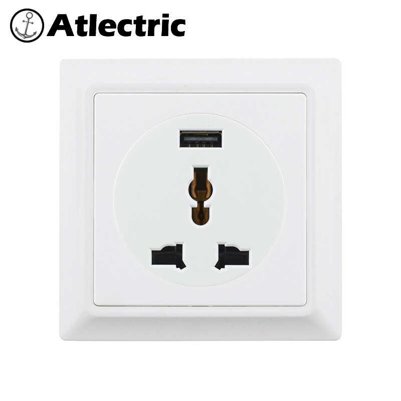 Atlectric Универсальный UK IRL MYS SGP Стандартный Штекерный разъем USB зарядный порт настенная розетка пластиковая ретро-панель
