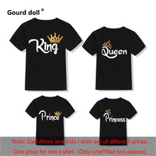Family Matching Clothes Mother Father Daughter Son Kid T-Shirt KING QUEEN Letter Print Clothes Mommy and Me Short Sleeve Tops