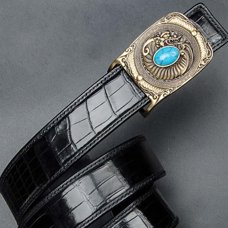 hongqiangyin Crocodile skin for men  belt  Genuine crocodile leather  Smooth buckle  belt  youth korea edition  leisure men belt