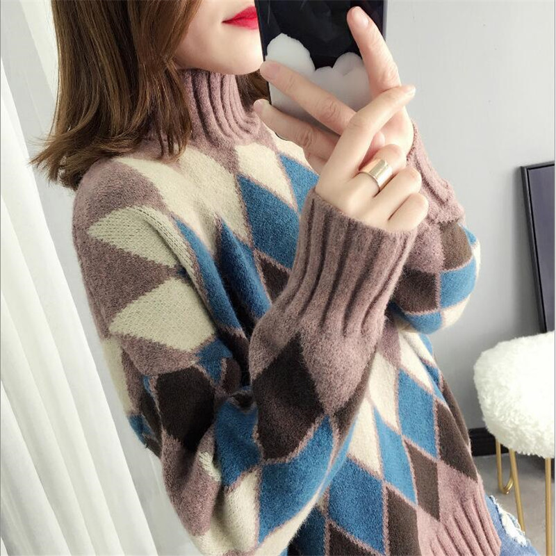 Half-neck Sweater Women's Head 2019 Autumn And Winter New Loose Diamond Long-sleeved Solid Color Bottoming Sweater
