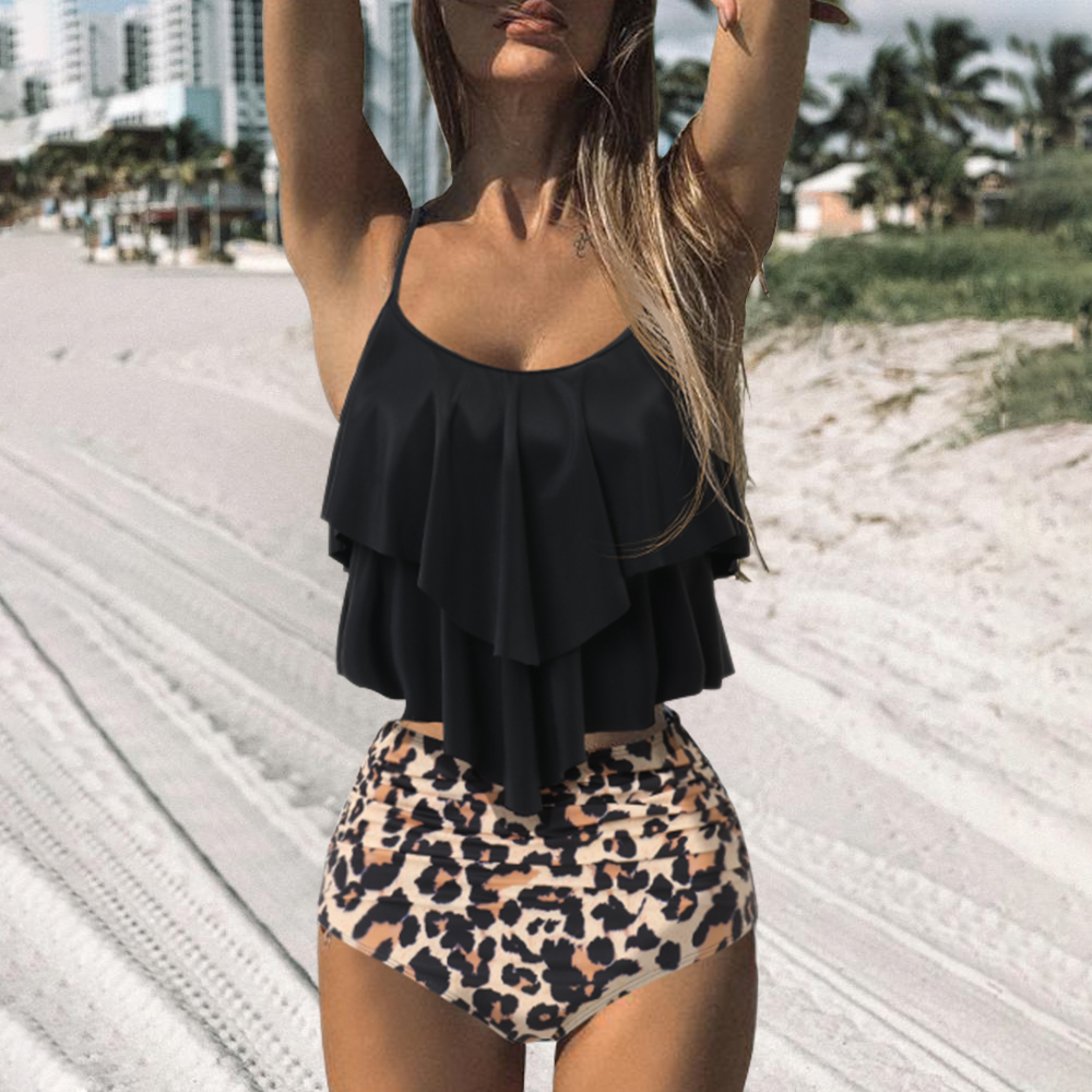 Leopard Bikini 2020 High Waist Bikini Animal Print Tankini Floral Swimsuit Brazilian Ruffle Swimsuit Plus Size Swimwear Women