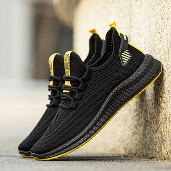 Casual Shoes Men Sneakers Fashion Walking Running Shoes Fly Weave Air Mesh Sneakers Flat Soft Sole Non Slip Breathable Jogging