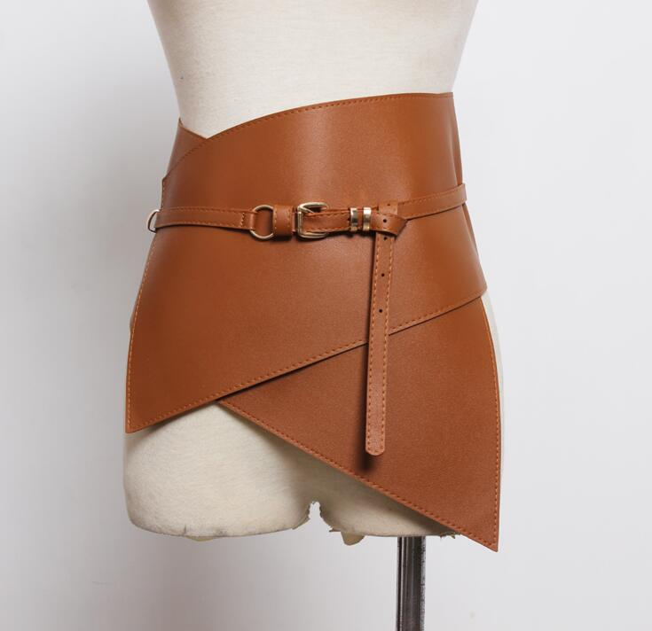 Women's Runway Fashion Pu Leather Elastic Cummerbunds Female Dress Coat Corsets Waistband Belts Decoration Wide Belt R1776