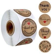 500 obrigado do papel de embalagem dos pces você etiquetas com coração vermelho etiquetas feitas à mão etiqueta para o negócio envelope selando a etiqueta dos artigos de papelaria