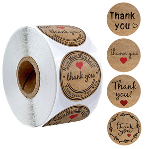 500pcs kraft paper thank you stickers with red heart handmade labels sticker for business envelope sealing stationery sticker