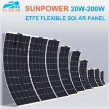 24% High efficiency 20W-200W Sunpower ETFE Flexible Solar Panels Car,,Rv,yachts,Fishing boats 12V 24V Solar battery charging