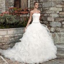 فساتين زفاف لحفلات الزفاف 2020 Vestidos De Noiva لامعة مطرز بالخرز كريستال الخصر مطوي أبيض رائع فساتين Mariage