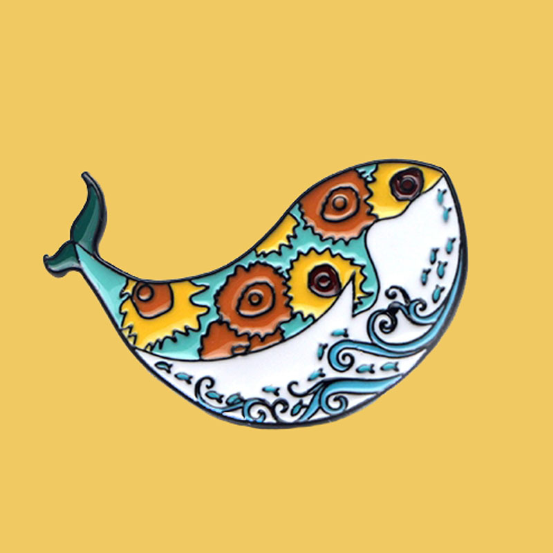 O203 Cute <font><b>Whale</b></font> Art Van Gogh Wave Creative Metal Enamel Pins And Brooches For Women Men Lapel Pin Backpack Hat Badge image