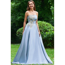 Homecoming-Gowns Graduation-Dresses Satin Strapless A-Line Floor-Length Beaded Party-Wear
