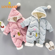 Winter Infant Baby Boy Girl Cotton Hooded Romper Jumpsuit Clothes Outfit For 0-24 Months Kids roupa ropa de bebe baby costume
