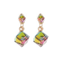 Fashion Square Cube Pendants Crystal Dangle Earrings For Women Clear Green/Gray/Multicolor Color CZ Cube Stone Jewelry Gift(China)