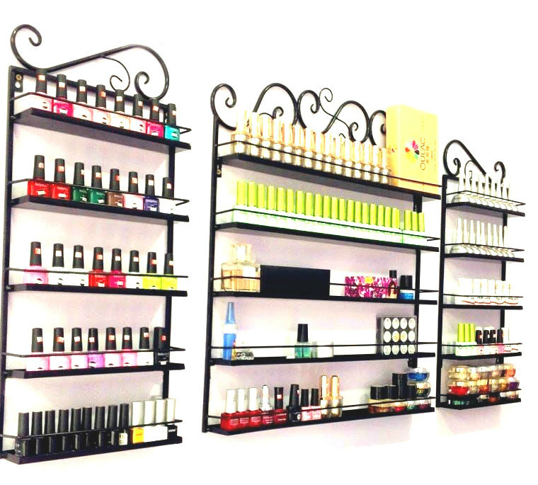 3 pièces/ensemble 5 couches fer vernis à ongles étagère noir ongle boutique exposition étagère vernis à ongles affichage mural étagère maquillage organisateur