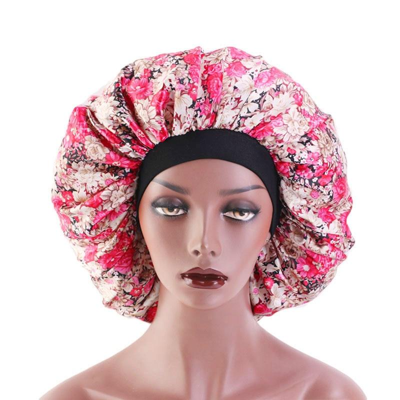 Large Silk Sleeping Hat Lady Elastic Wide Side Satin Printed Night Cap Hair Loss Cap Turban Chemo Hat Women Hair Accessories