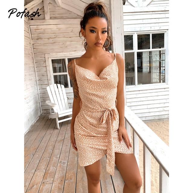 Pofash Spaghetti Strap Summer Dresses Women V Neck Backless Sexy Wrap Bow Bodycon Dress Polka Dot Sleeveless Mini Vestidos 2021 4