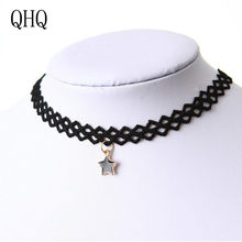 QHQ pendant necklace stars chain neckless invisible best friends women fashion choker handmade accessories jewelry gifts boho(China)