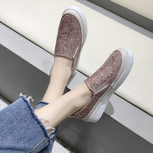 Ladies Shoes Platform Rhinestone Casual Sneakers Women Flats Slip On Fashion Thick Sole