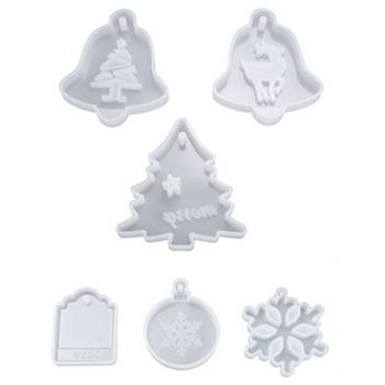 6Pcs Resin Crystal Epoxy Mold Christmas Tree Elk Pendant Casting Silicone Mould 83XF