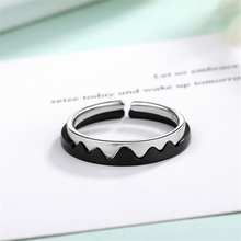 Korean Style 925 Sterling Sliver Mountain League Oath Couple Rings Promise Love Black&Sliver Wave Lovers Adjustable R264