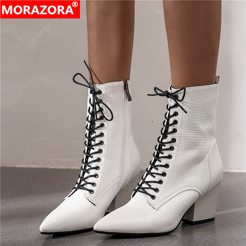 MORAZORA Winter Boots Office-Shoes Lace-Up Western Pointed-Toe High-Heels Vintage Autumn