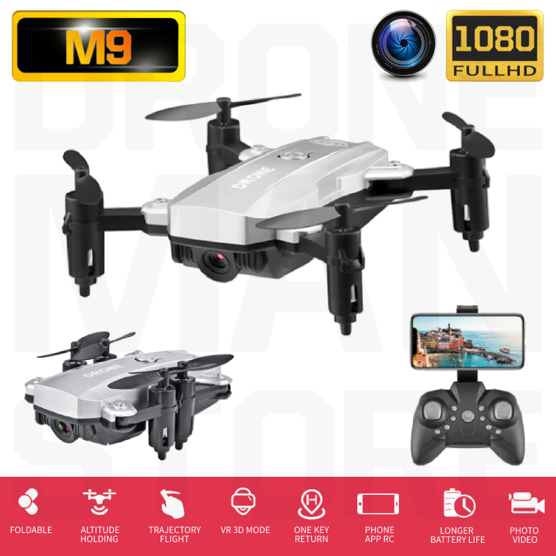 RC Quadcopter M9 Mini Drone Camera HD 1080P Wifi FPV Dron Foldable Altitude Hold RC Helicopter Selfie Drones Toys For Kids image