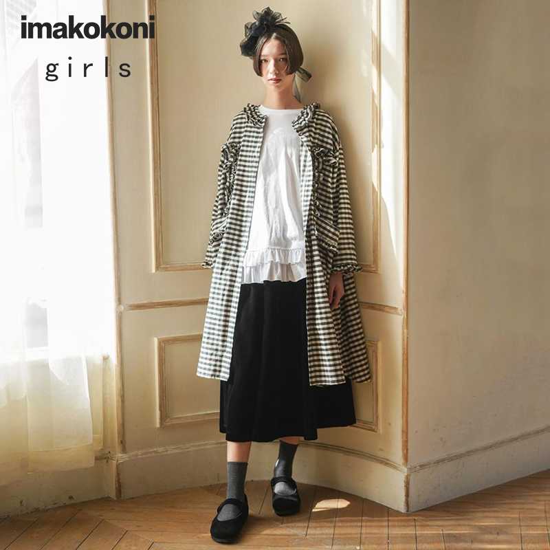 Imakokoni Black And White Plaid Coat Original Design Wild Casual Long-sleeved Mid-length Female C
