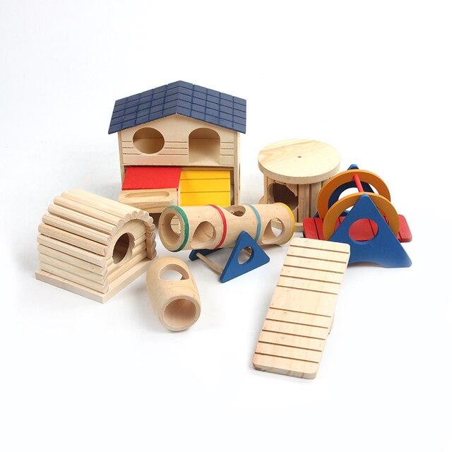 Jouets nid de Hamster en bois   Balançoire ours doré petite chambre de double cabine, paquet de produits bricolage