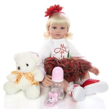 KEIUMI 24 Inch Elegant princess Reborn Baby Girl Doll 60 cm Soft Vinyl Cloth Body bebe toddler Doll Lifelike Boneca Reborn gift