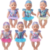 43 cm baby dolls Clothes swimsuit A shiny bathing suit dress American newborn skirt Baby toys fit 18 inch Girls doll f883
