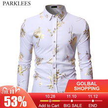 Mens Gold Rose Floral Print Shirts 2019 Brand Floral Steampunk Chemise White Long Sleeve Wedding Party Bronzing Camisa Masculina
