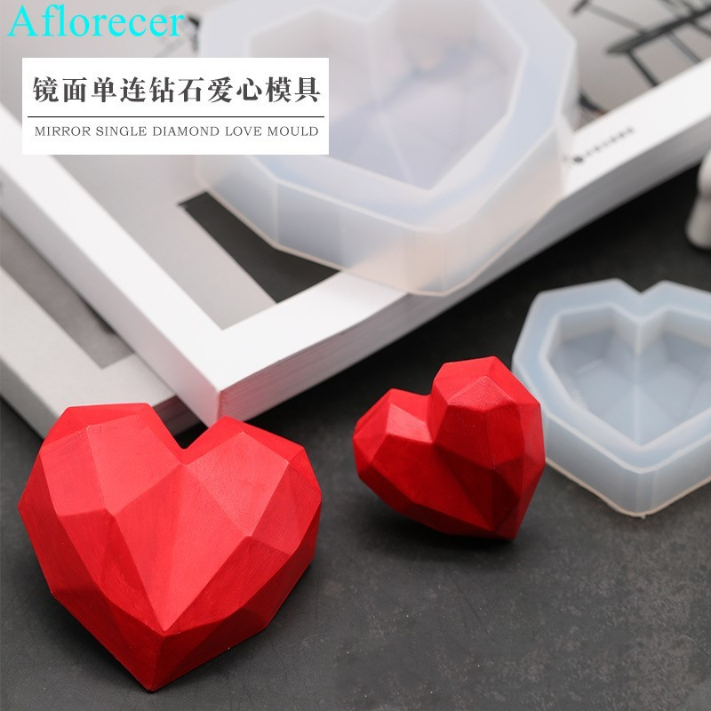 3D Diamond Soap Moulds Love Heart Design Silicone Mold DIY Car Pendant Gypsum Plaster Heart Mold Diamond Candle Molds