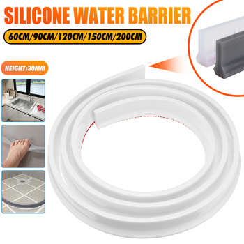 200cm Bathroom Water Stopper Water Partition Dry&Wet Separation Flood Barrier Rubber Dam Silicon Water Blocker Don't Slip