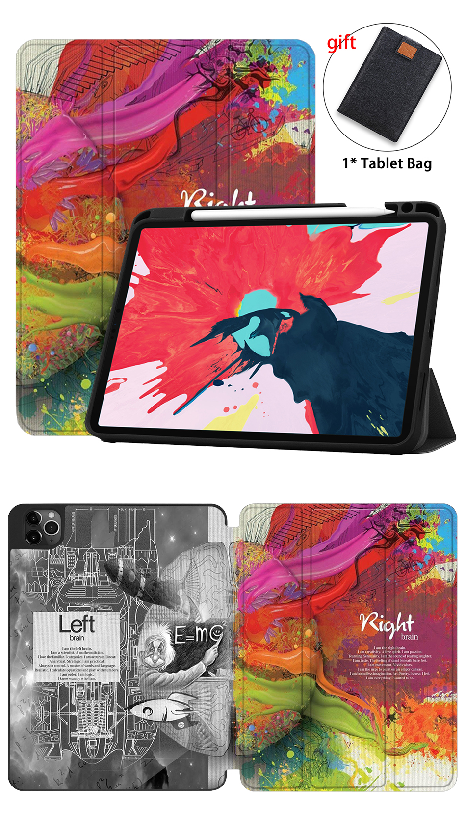 11 TPU+PU iPad Case Pencil Leather Holder MTT Folio Soft Pro 2020 Tablet With inch For