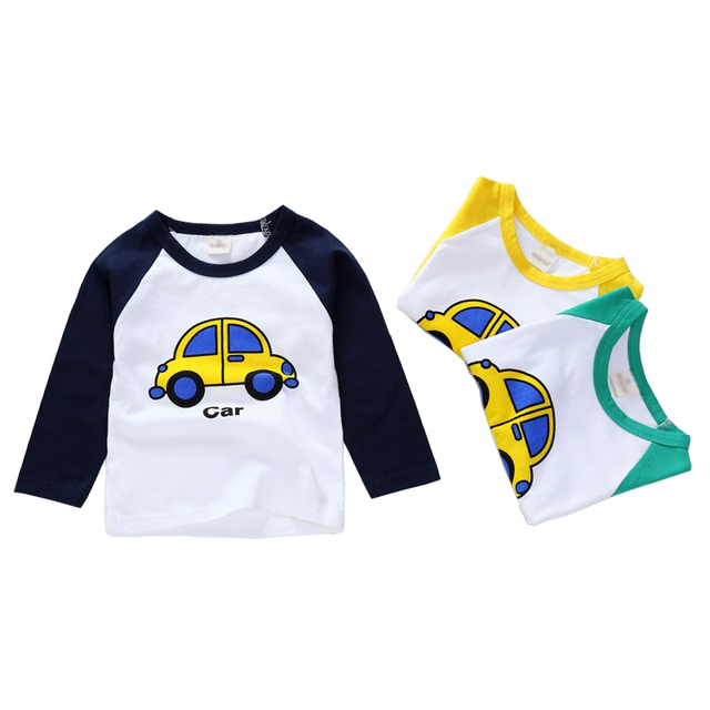 New Spring Boys Girls Cartoon Cotton T Shirts Children Tees Boy Girl Long Sleeve T Shirts Kids Tops Brand Baby Clothes 12M-8Y 2