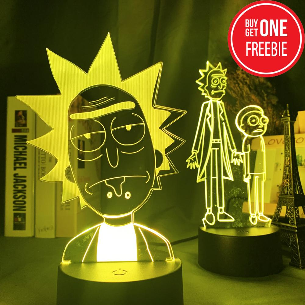 Rick And Morty 3d Led Night Light For Kids Bedroom Decorative Light Baby Child Nightlight Gift Color Changing Room Lamp 3d