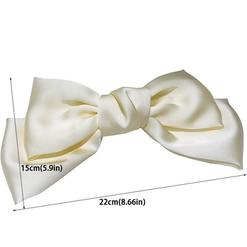 High Quatity Solid Color Big Bow Hairpins For Girl Popular Hair Clip For Women Sweet Two-layer Satin Hairgrip Hair Accessories 6