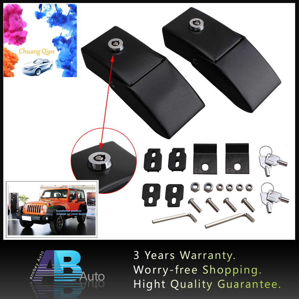 1Pair <font><b>Hood</b></font> Lock Kit Anti-Theft Security Lock <font><b>Latch</b></font> Kits Engine Locking Catches <font><b>Latches</b></font> set With Key For <font><b>Jeep</b></font> Wrangler JK 07-18 image