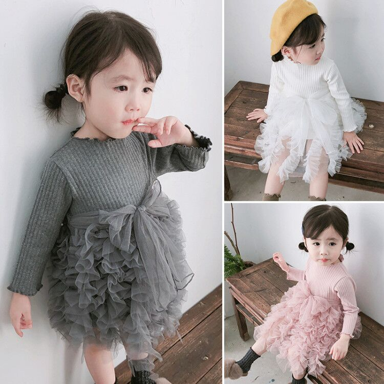 2020 Winter Baby Girls Dress Long Sleeve Princess Dress Warm Knitting Sweater Easter Dresses Children Clothes 3 <font><b>6</b></font> <font><b>12</b></font> <font><b>24</b></font> Month image