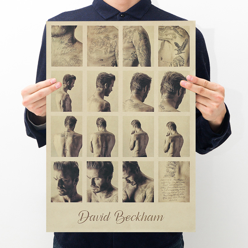 Celebrity Beckham poster room decoration retro kraft bar cafe decoration painting art wall sticker