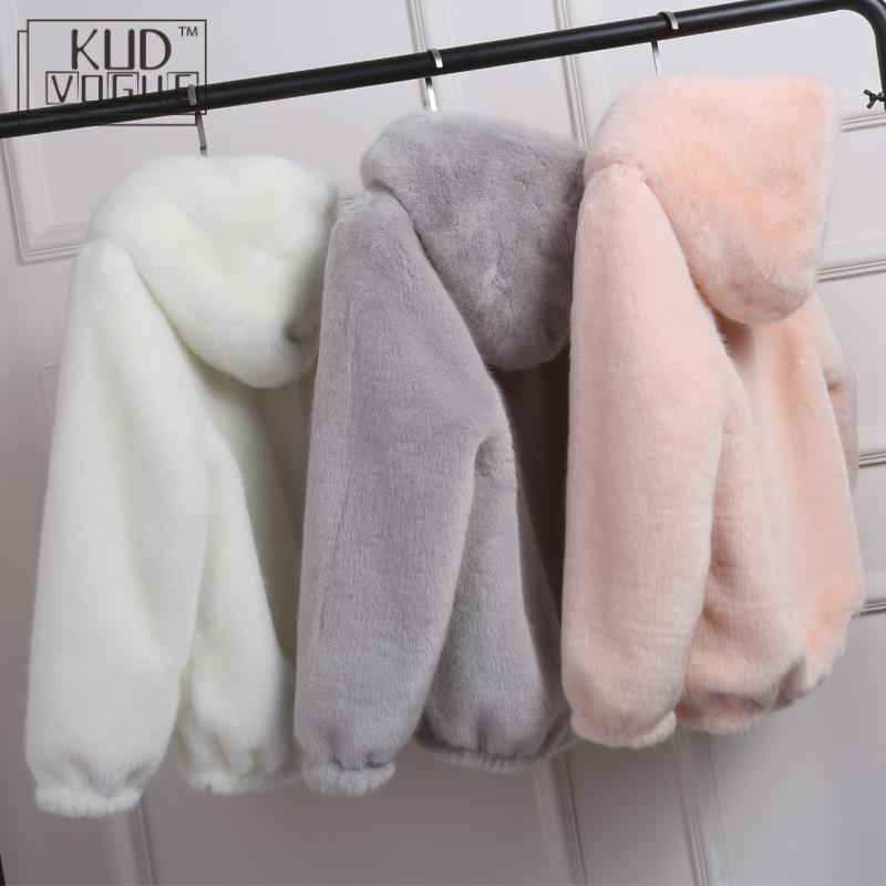 Winter Warm New Faux Mink Casual Women Faux Fur Coat Hooded Furry Fake Rabbit Fur Ladies Jacket Zipper Pink Outwear Plus Size