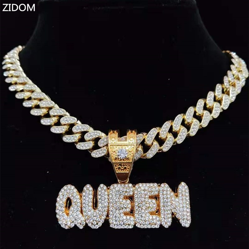 Men Women Hip Hop KING QUEEN Letter Pendant Necklace with 13mm Miami Cuban Chain Iced Out Bling HipHop Necklaces Fashion Jewelry