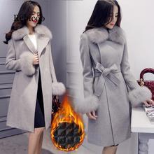 Elegant Fashion Long Wool Coat Collar Detachable Fur Collar Wool Blend Coat and Jacket Solid Women Coats Autumn Winter недорого